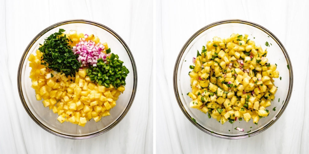 Collage showing how to make jalapeno pineapple salsa.