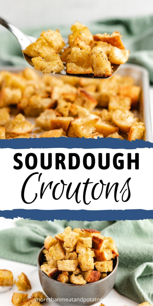 Collage of two photos of sourdough croutons