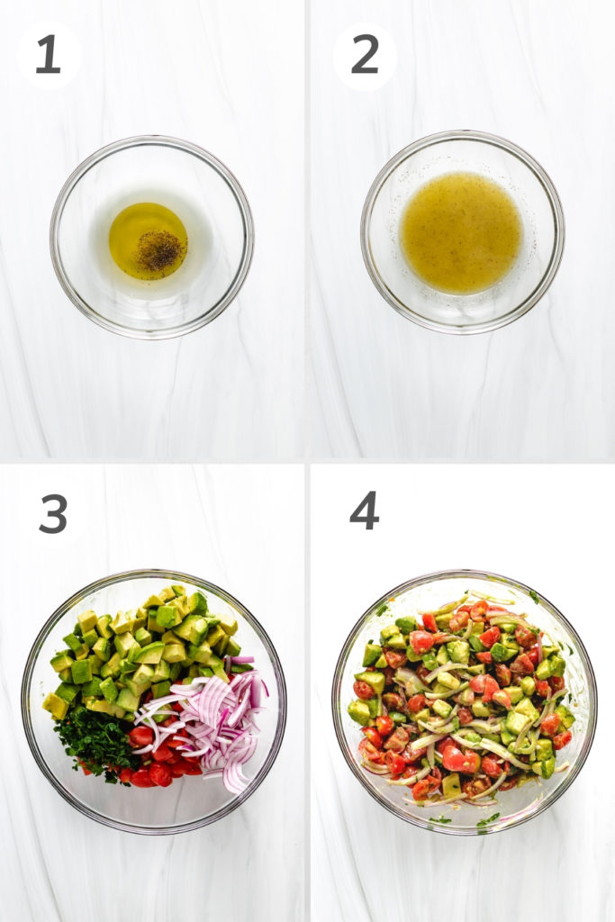 Collage showing how to make tomato avocado salad.
