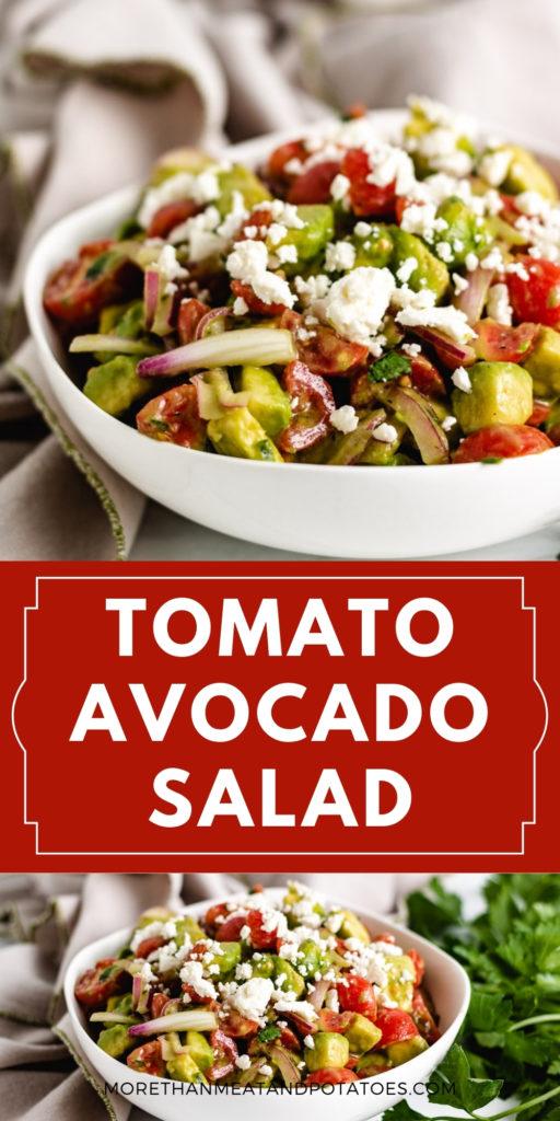 Collage of two photos of tomato avocado feta salad.