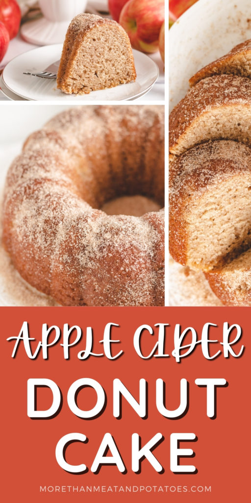 Three photos of apple cider donut cake in a collage.