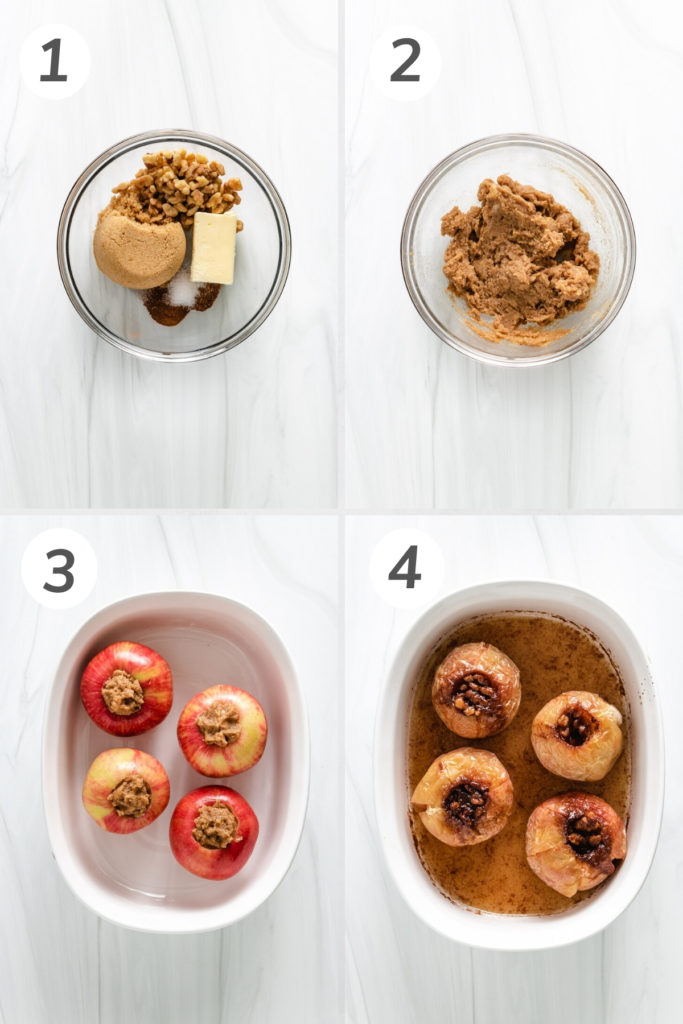 Collage showing how to make baked apples.