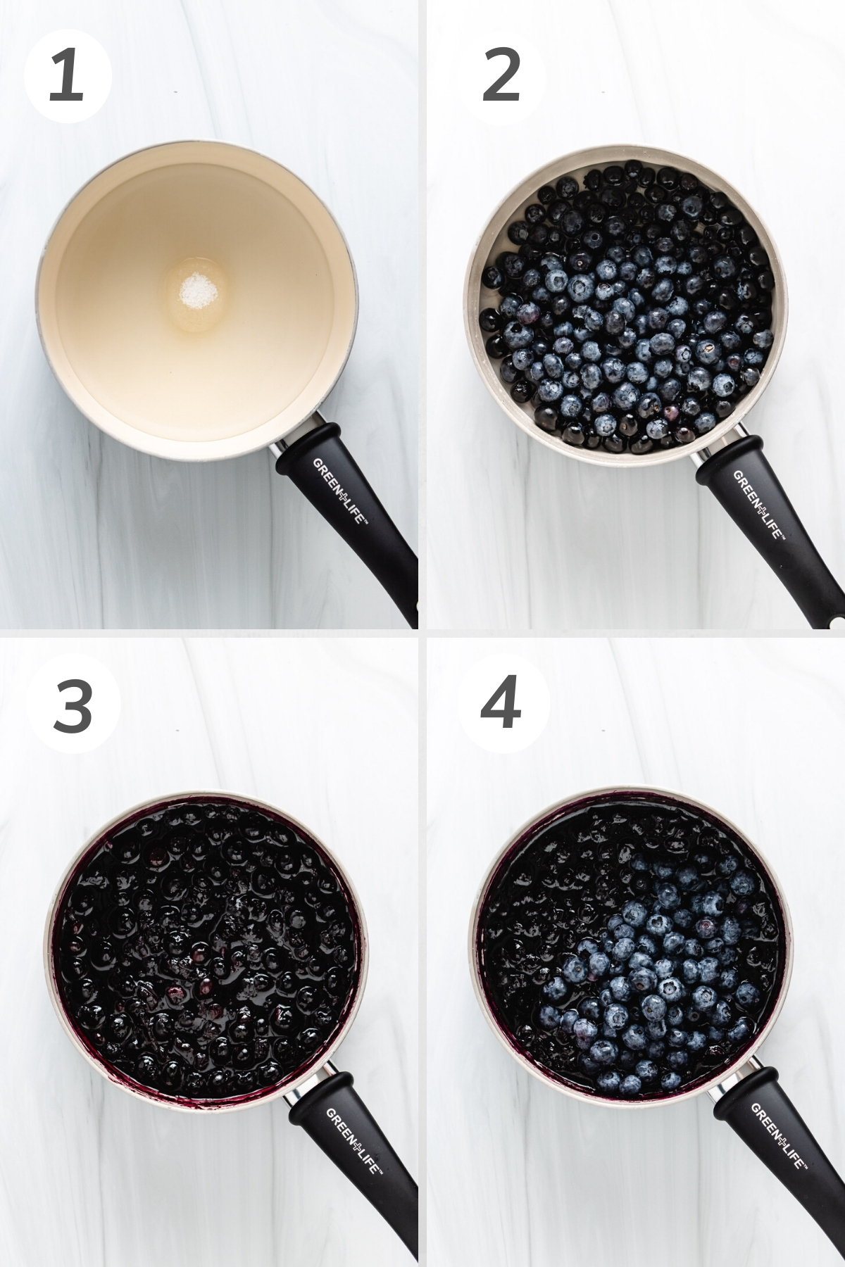 Collage showing how to make blueberry compote.