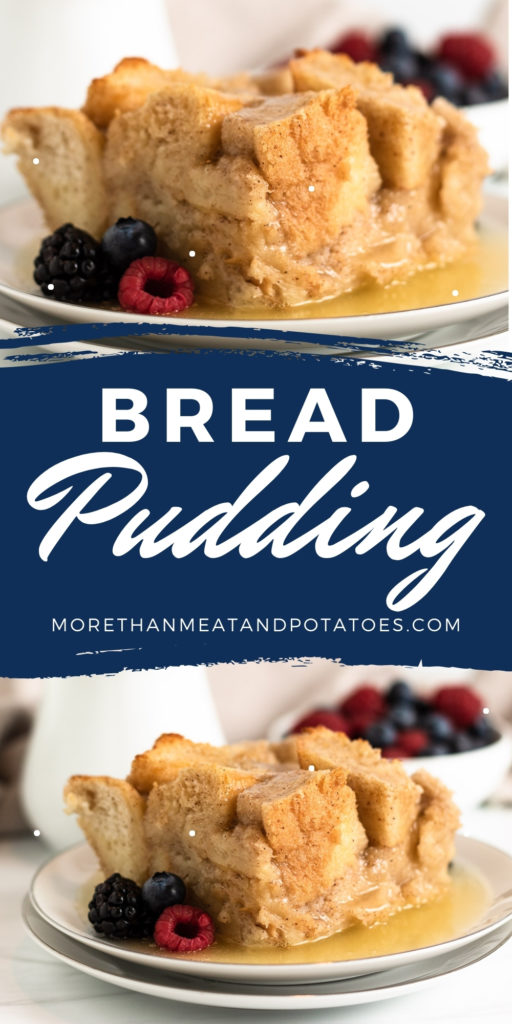 Two photos of bread pudding in a collage.