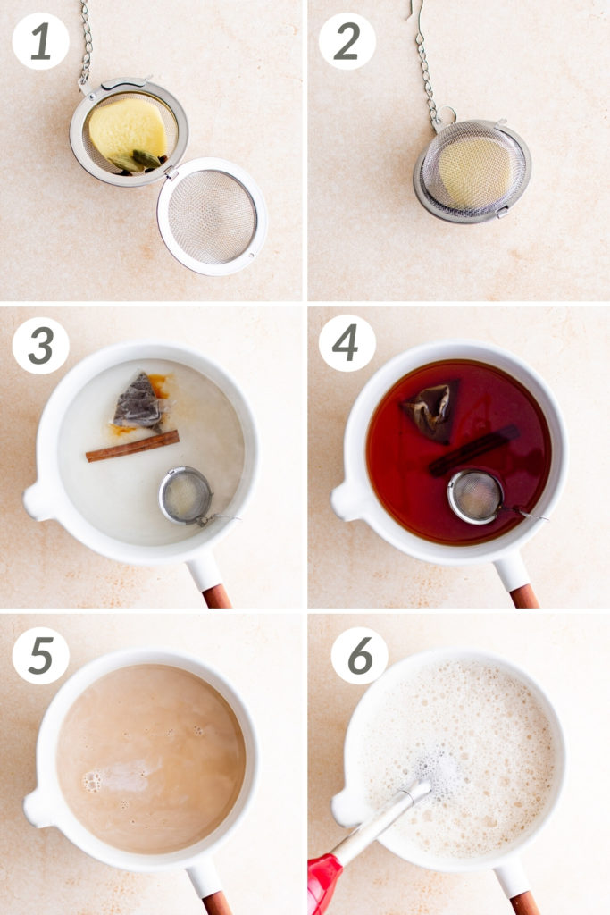 Collage showing how to make chai latte.