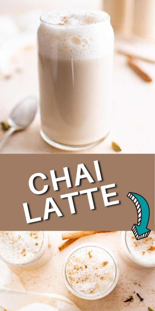Two photos of chai latte with frothed milk.