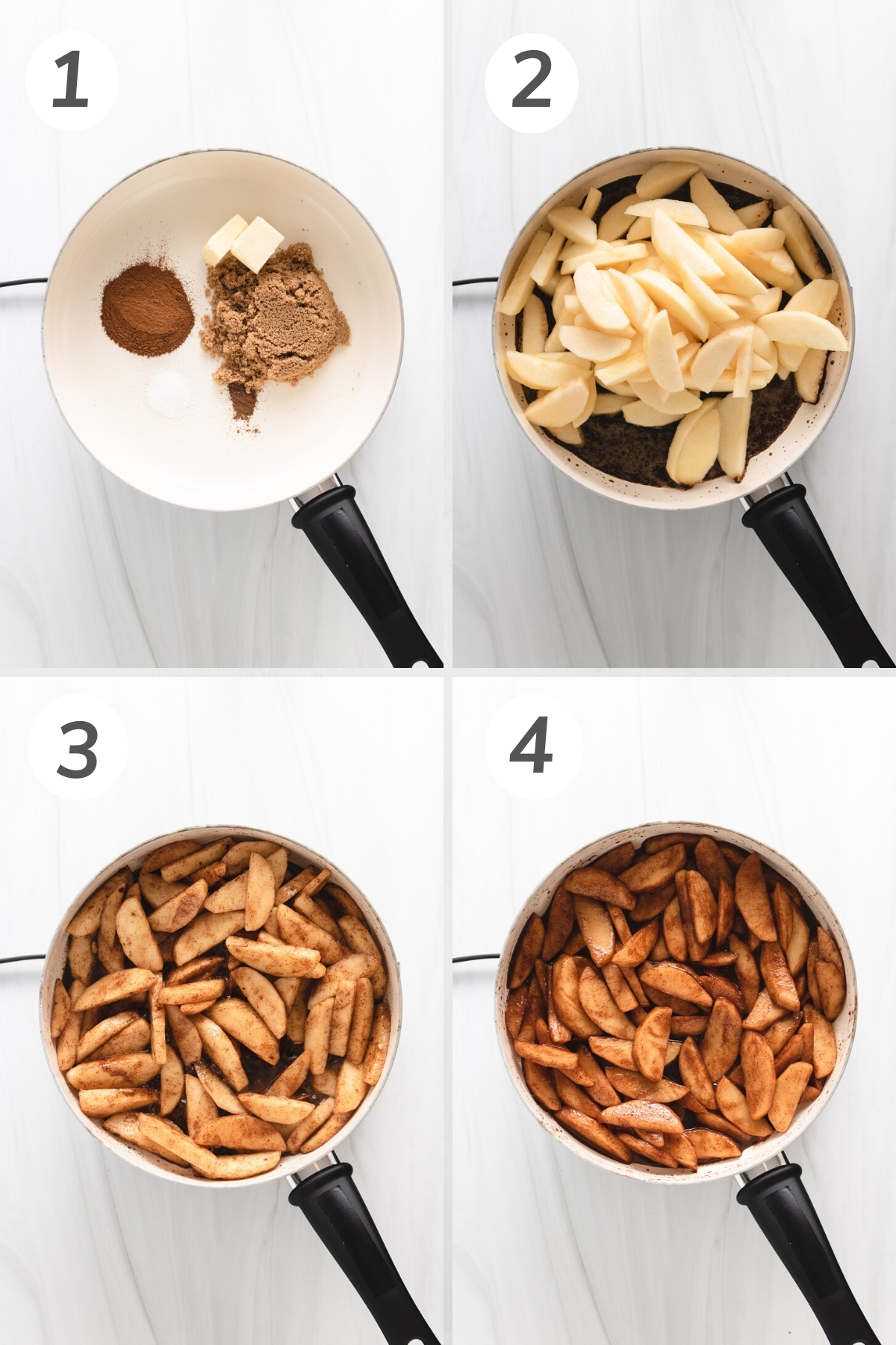 Collage showing how to make cinnamon apples.