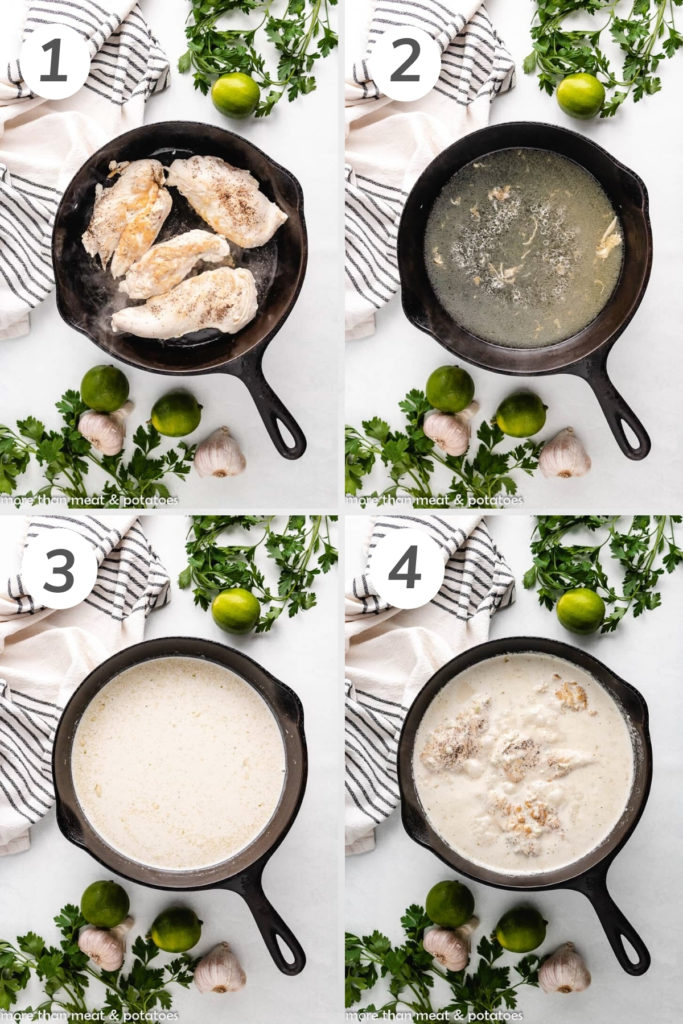 Collage showing how to make coconut lime chicken.