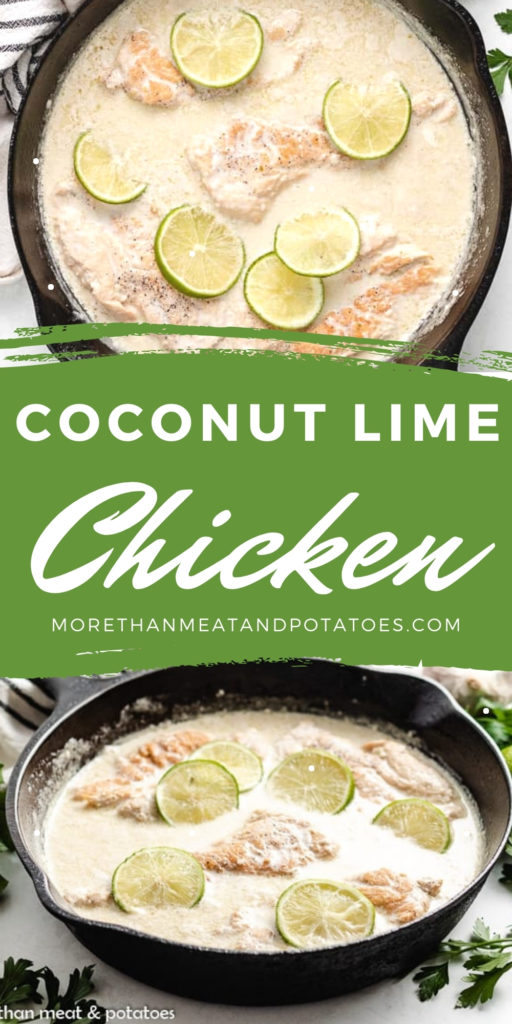 Two photos of coconut lime chicken in a collage.