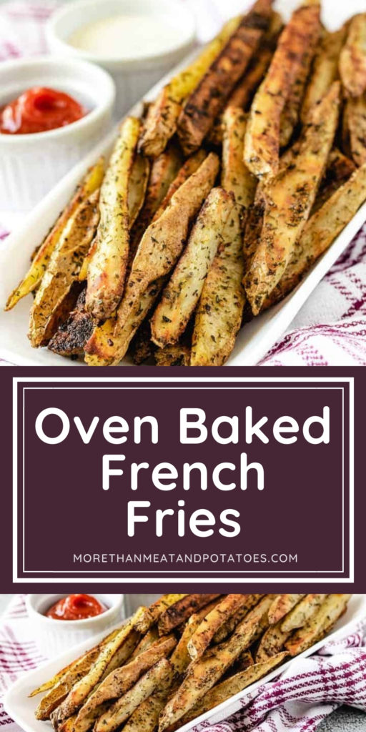 Two photos of oven baked french fries in a collage.