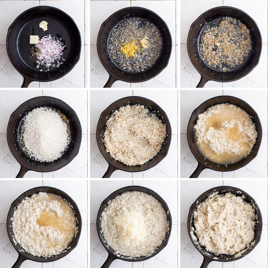 Collage showing how to make parmesan risotto.