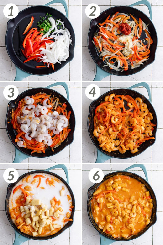 Collage showing how to make shrimp curry.