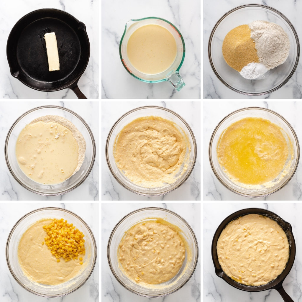 Collage showing how to make skillet cornbread.