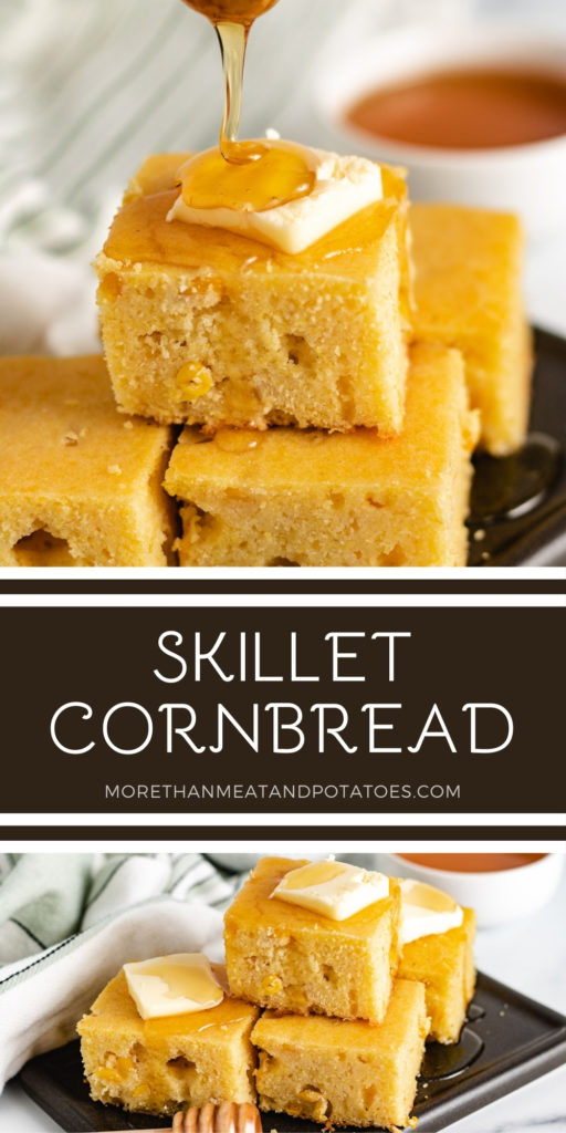 Two photos of skillet cornbread in a collage.
