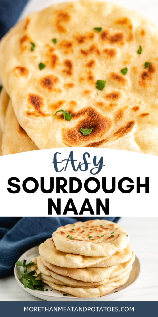 Two photos of sourdough naan on a gray plate.