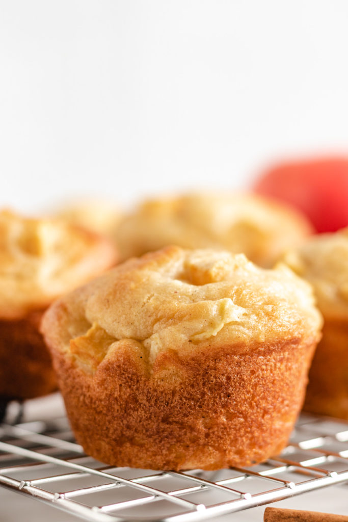 Spiced muffin on a wire rack.