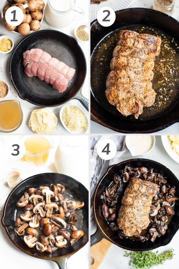 Collage showing how to make beef tenderloin.