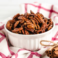 Candied pecans in a serving dish.