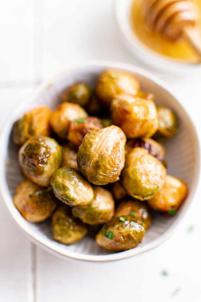 Top down view of honey sriracha brussel sprouts.