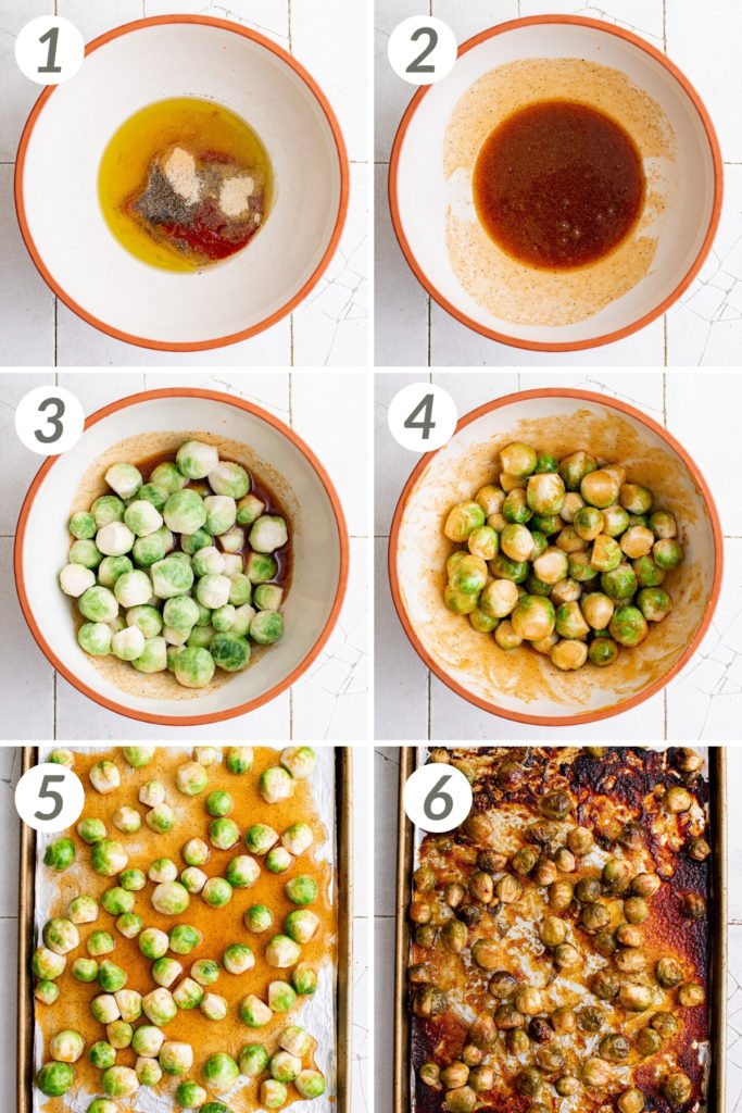 Collage showing how to make honey sriracha brussel sprouts.