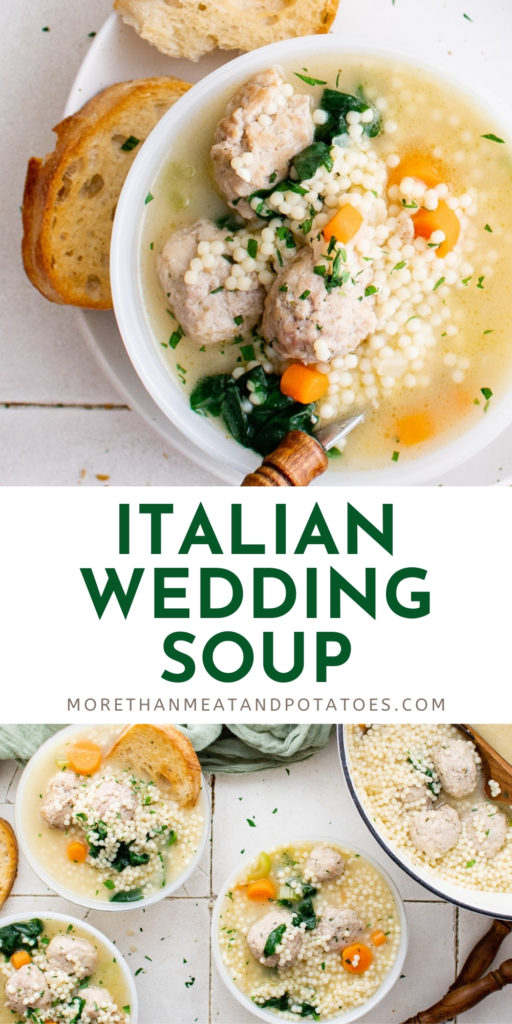Two photos of italian wedding soup in a collage.