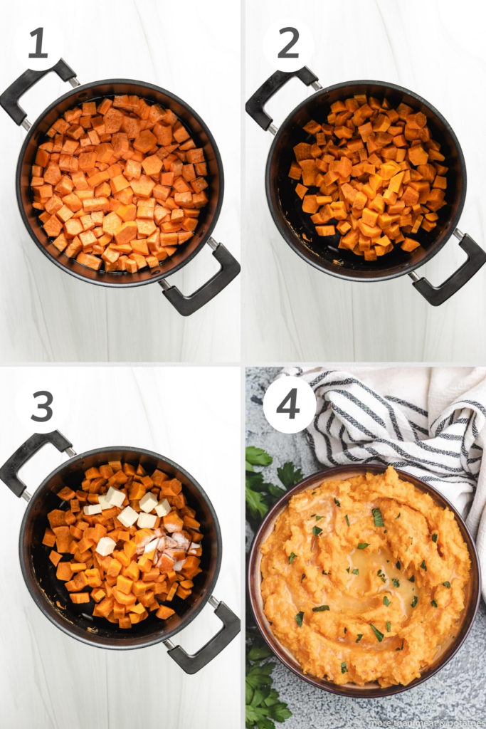 Collage showing how to make mashed sweet potatoes.