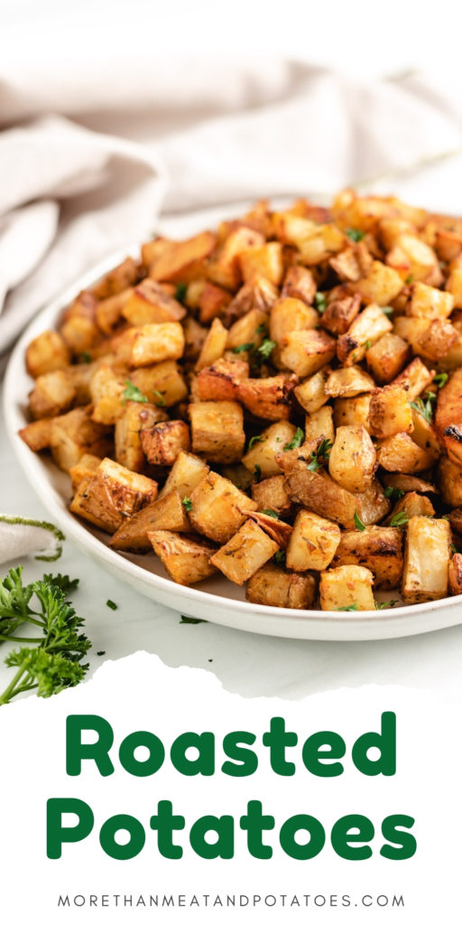 Large plate piled with roasted potatoes.