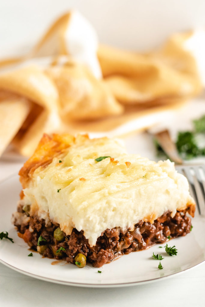 Shepherd's pie with toasted mashed potatoes on a plate.