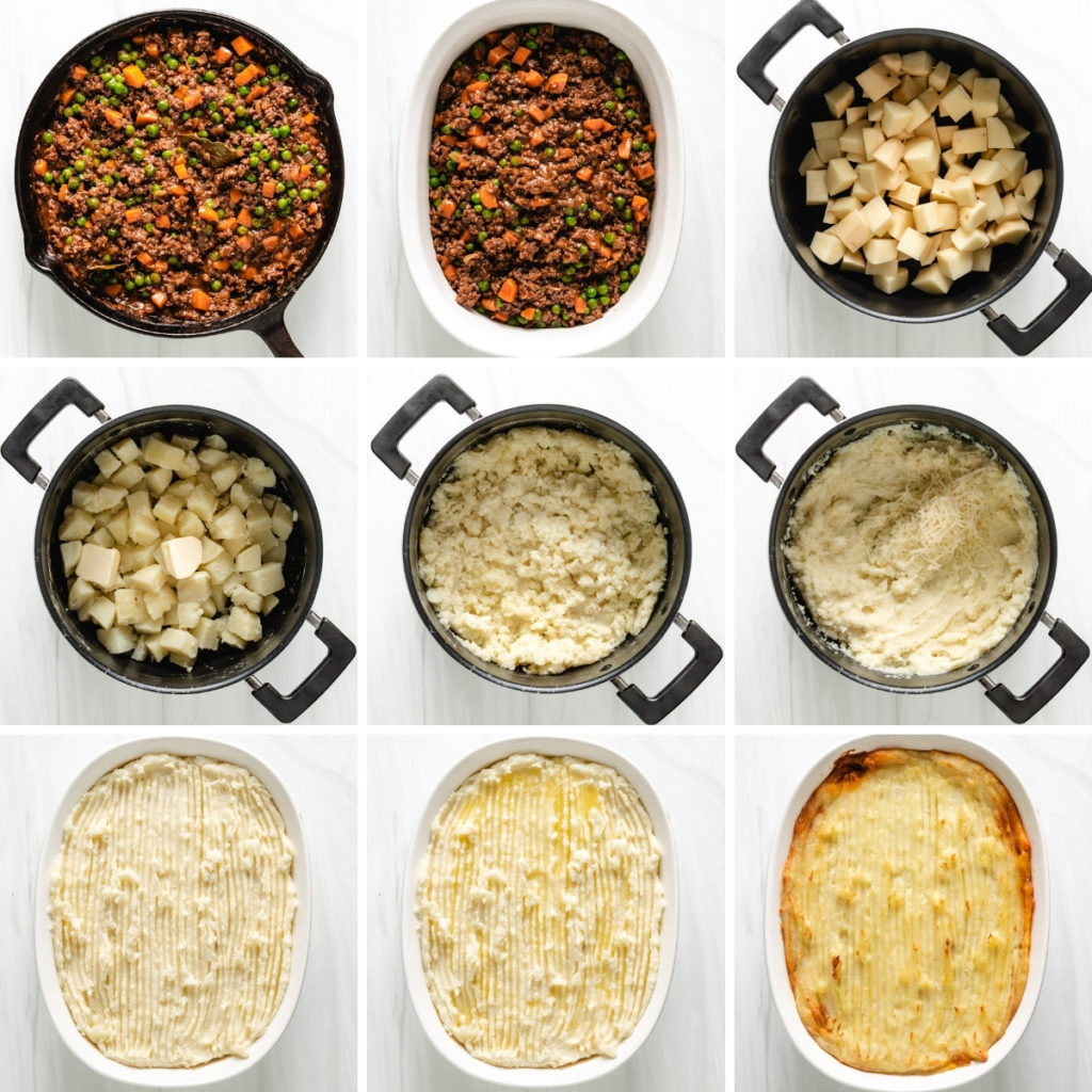 Collage showing how to make mashed potatoes for shepherd's pie.