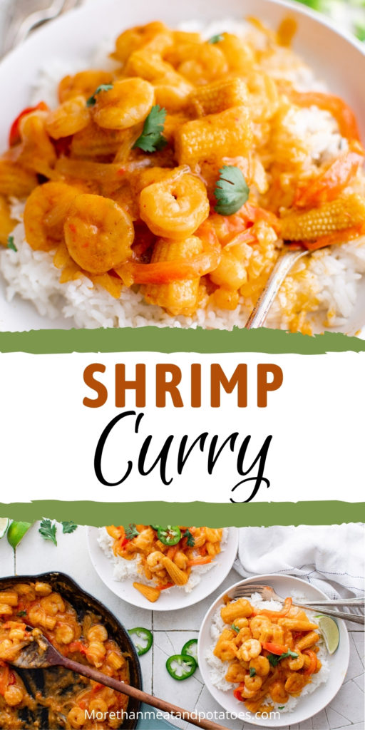 Two photos of shrimp curry in a collage.