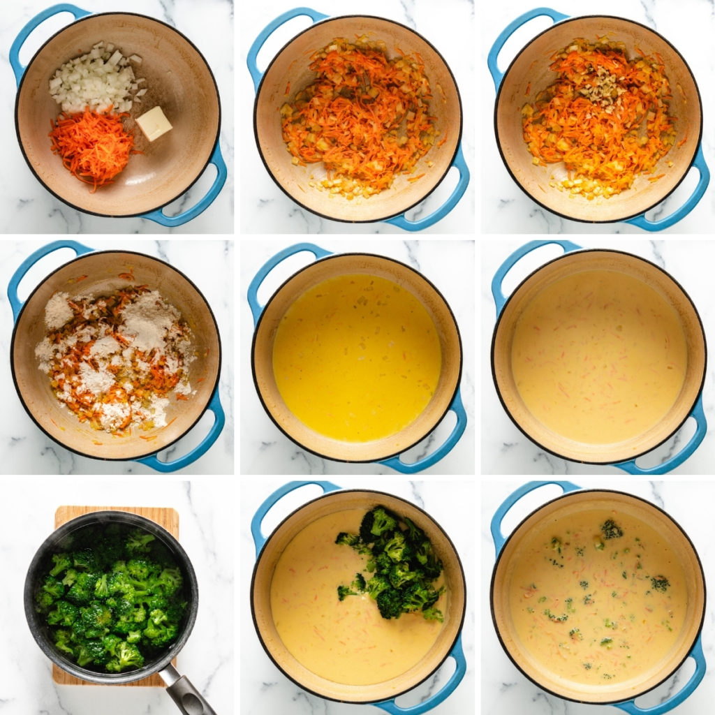 Collage showing how to make broccoli cheddar soup.