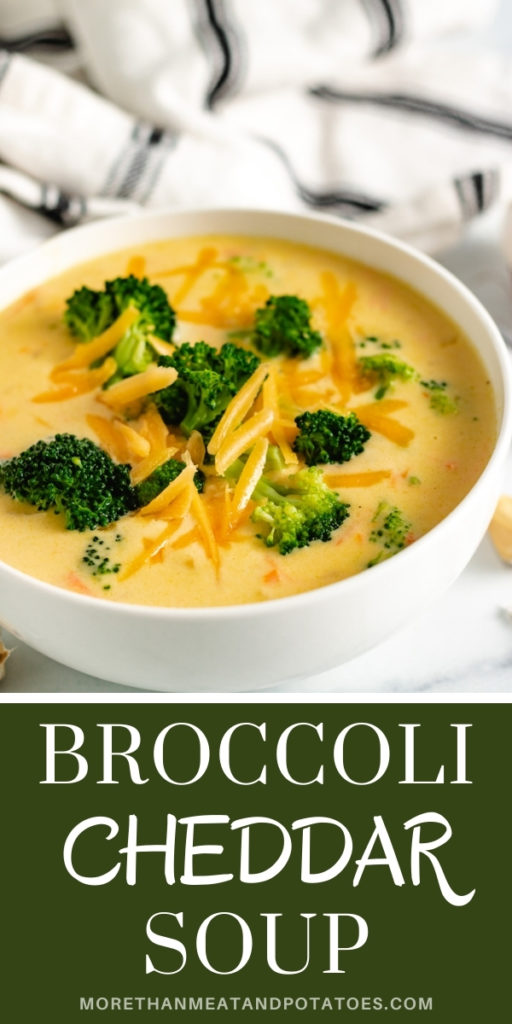 Close up view of a bowl filled with broccoli cheddar soup.
