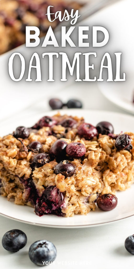 Baked oatmeal with blueberries on a plate.