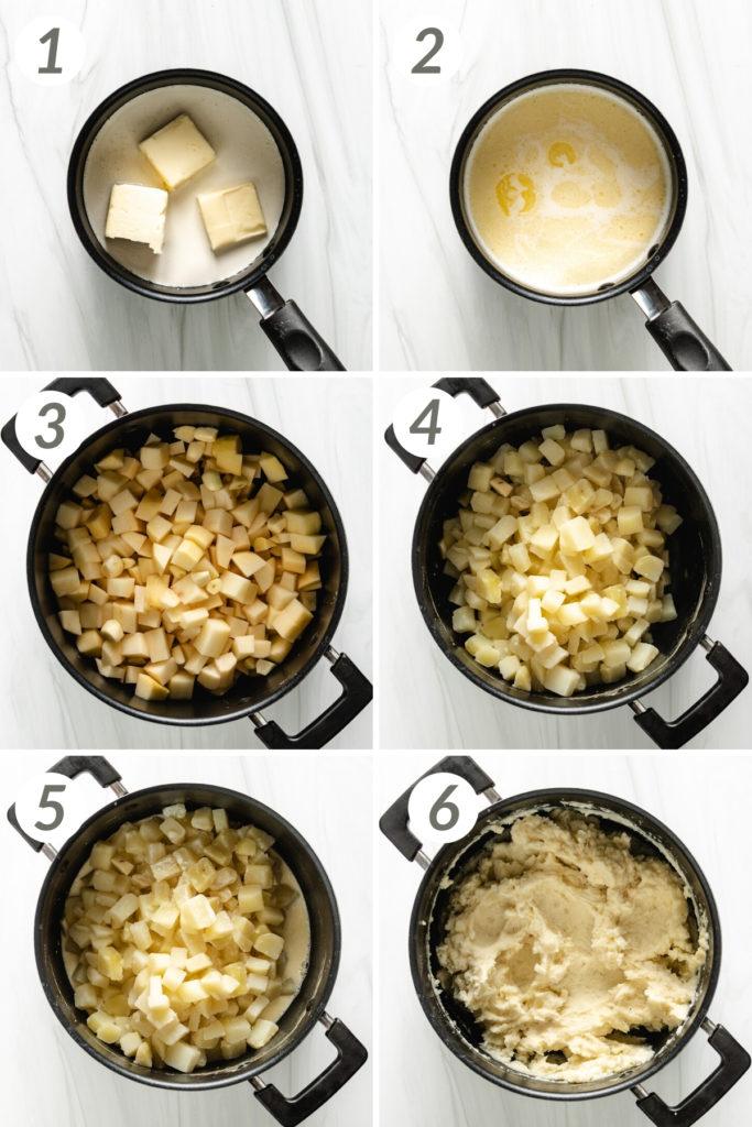 Collage showing how to make garlic mashed potatoes.