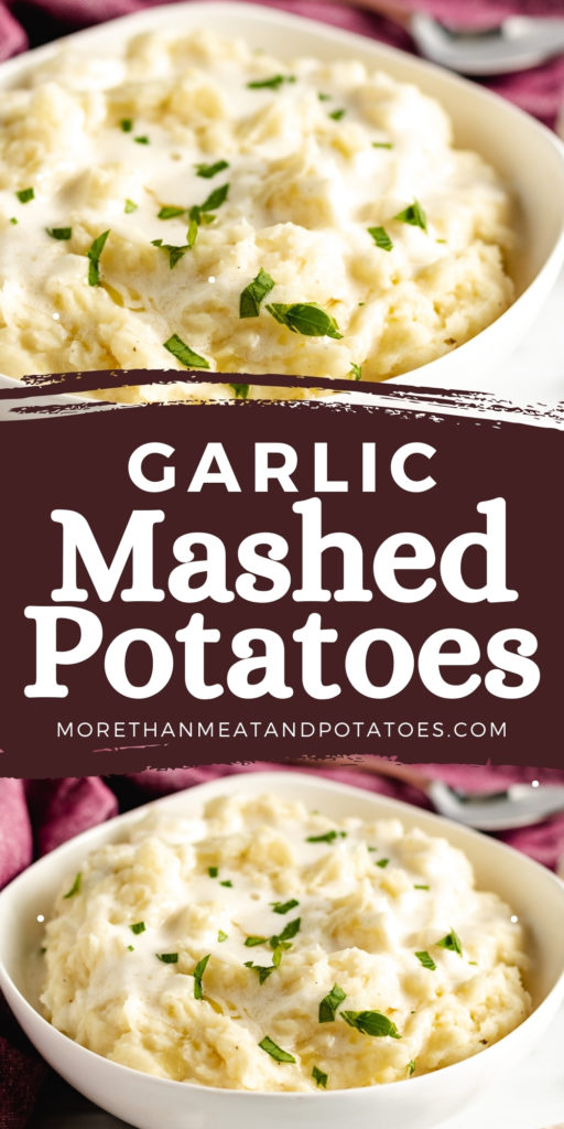 Two photos of garlic mashed potatoes in a collage.