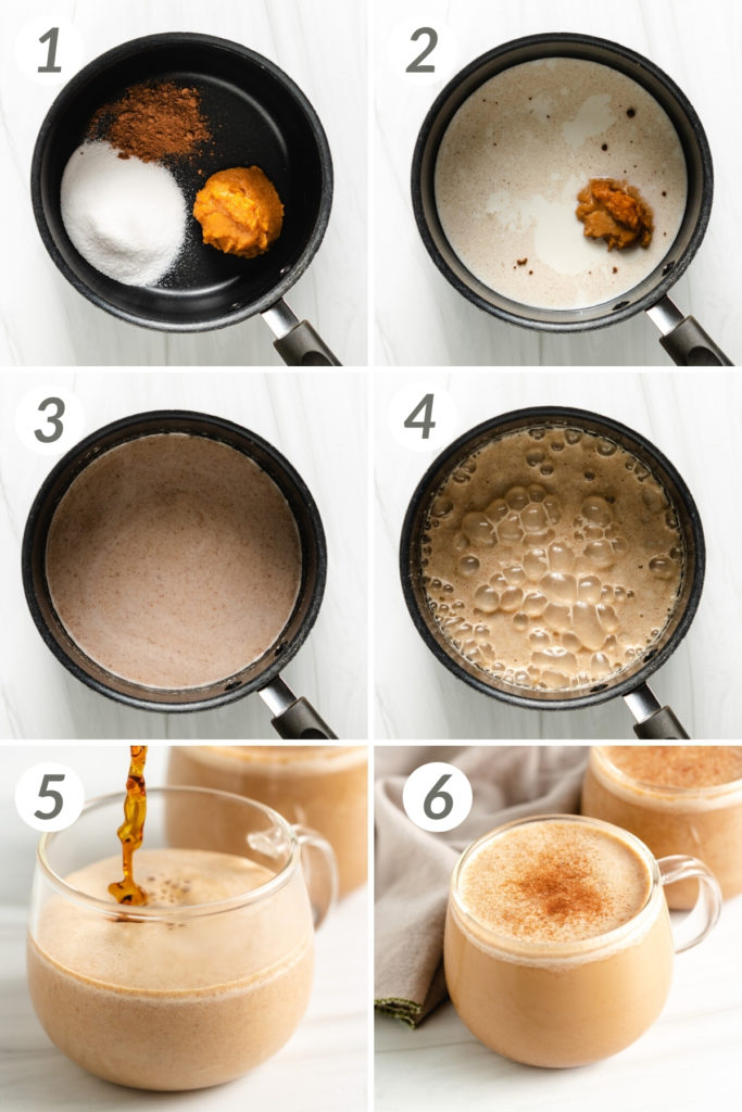 Collage showing how to make pumpkin spice latte.