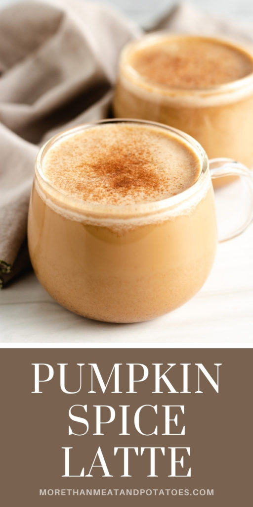 Close up of pumpkin spice latte topped with pumpkin pie spice.